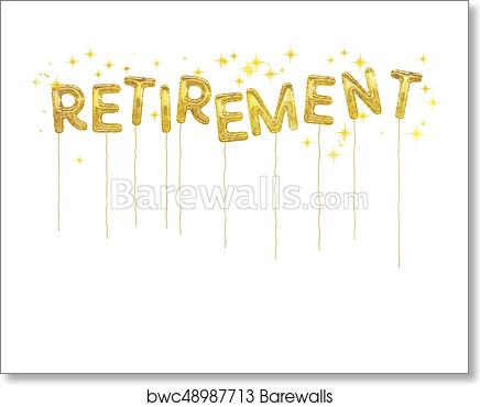 art print of gold foil retirement party style balloons white