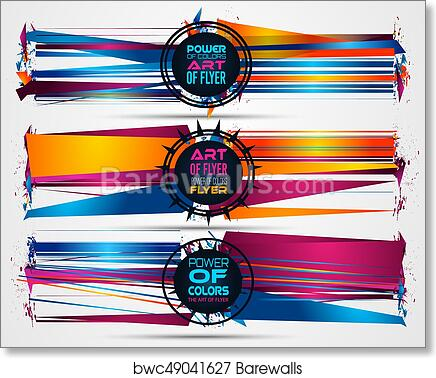 Futuristic Frame Art Design With Abstract Shapes And Drops Of Colors Behind Art Print Poster