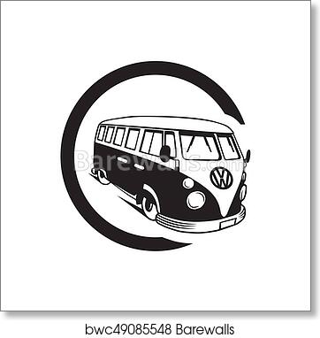Art Print Of Vector Illustration Silhouette Vintage Volkswagen Van Busep8eps10white Background