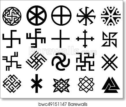 different symbols Art Print of Different Slavic symbols | Barewalls Posters