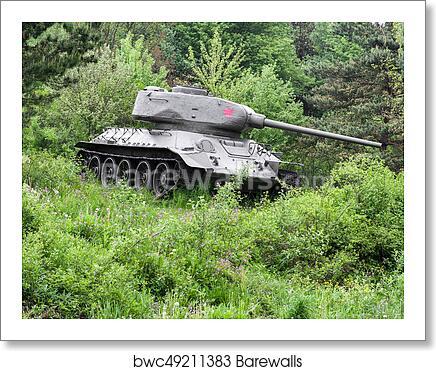 Soviet tank T-34 from World War II, Slovakia art print poster