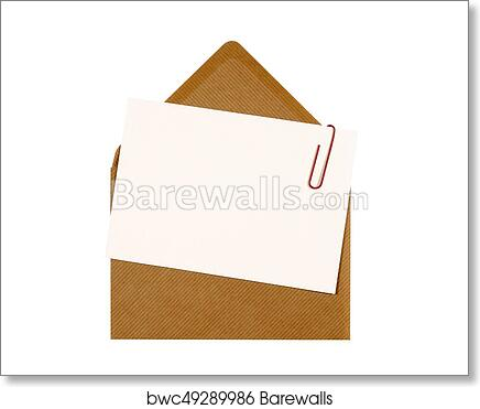 Blank Message Or Invitation Card With Paperclip And Brown Manila Envelope Copy Space Art Print Poster