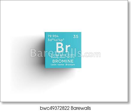 Bromine Bromum Halogens Chemical Element Of Mendeleev S Periodic Table Art Print Poster