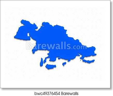 Map Of Asia 3d.Map Of Asia 3d Isometric Illustration Art Print Poster
