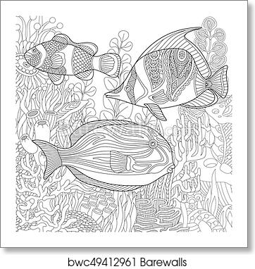 Coloring Page Of Coral Reef Shoal Tropical Fishes Underwater Seaweed Freehand Sketch Drawing For Adult Antistress Book In Zentangle Style