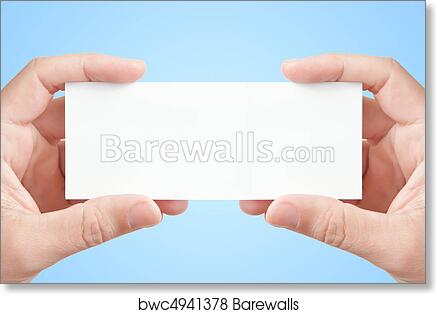Art print of two mans hands holding long blank paper business card art print of two mans hands holding long blank paper business card on light blue background copy space fot your message or adverisment colourmoves