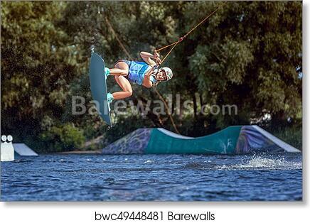 art print of professional sportswoman goes wakeboard ride