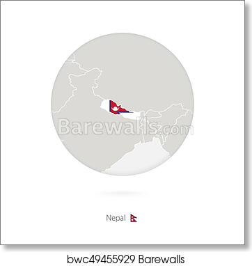 Map of Nepal and national flag in a circle. art print poster