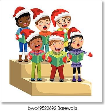 Christmas Singin.Multicultural Kids Xmas Hat Singing Christmas Carol Choir Riser Isolated Art Print Poster