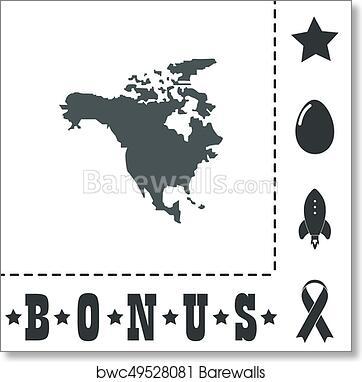 North America Map art print poster