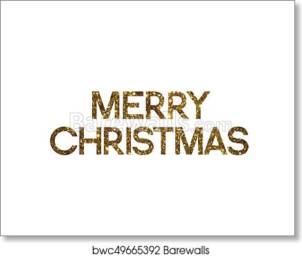 Merry Christmas Writing.Golden Glitter Of Isolated Hand Writing Word Merry Christmas Art Print Poster