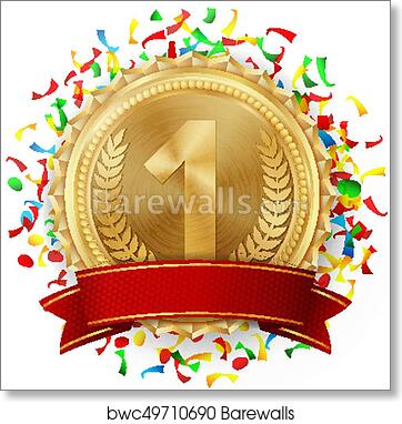 Gold Medal Vector  Golden 1st Place  Competition Challenge Award  Falling  Bright Confetti  Red Ribbon  Isolated  Olive Branch  Realistic  illustration
