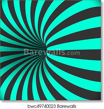 Art Print of Vector Tunnel Template. Optical Illusion Curved Vortex ...