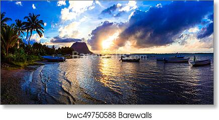 Serene Tropical Sunset Mauritius Island View Of Le Morne Mountain Art Print Barewalls Posters Prints Bwc49750588