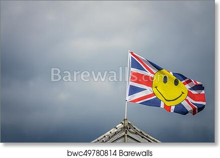 British Flag With Yellow Smiley Face Art Print Poster