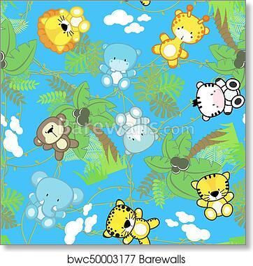 Safari Baby Animals Seamless Art Print Poster