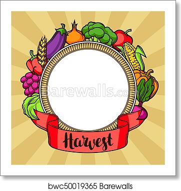 Harvest Decorative Element Autumn Illustration With Ribbon Seasonal Fruits And Vegetables Art Print Barewalls Posters Prints Bwc50019365