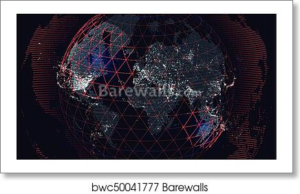 Art print of world map of the global communications network art print of world map of the global communications network futuristic abstract background gumiabroncs Image collections