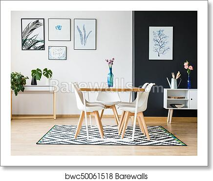 Dining Room In Scandi Style Art Print, Dining Room Posters And Prints