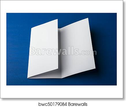 art print of blank tri fold brochure on blue background to replace