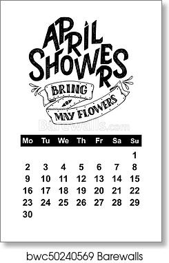 vector calendar for hand drawn lettering quotes for