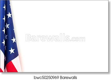 art print of us flag border on white background barewalls posters