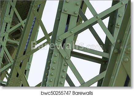 Metal parts of the rivet joints and bolts of the bridge construction art  print poster