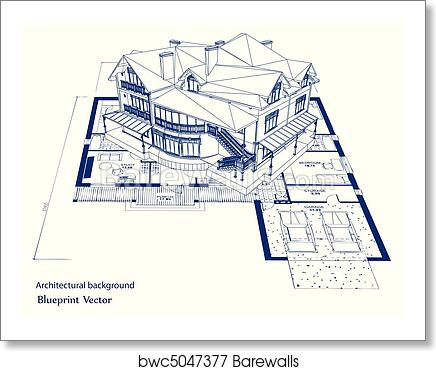 Art print of architecture blueprint of a house vector barewalls art print of architecture blueprint of a house vector malvernweather Image collections
