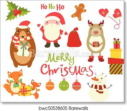 Collection of Christmas characters , cute animals and Santa Claus art print  poster