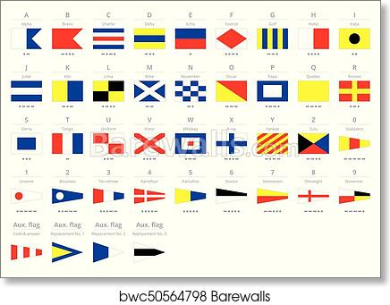 Art Print of International maritime signal nautical flags, morse ...