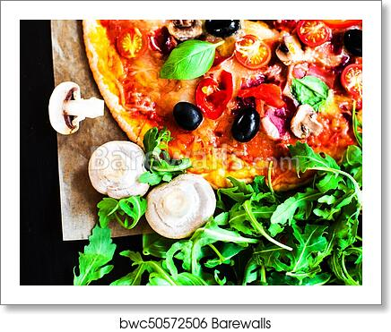 Art Print Of Classic Pizza With Pepperoni Sausage And Cheese In A Rustic Italian Style On Dark Background Hot Fresh Meat Mozzarella