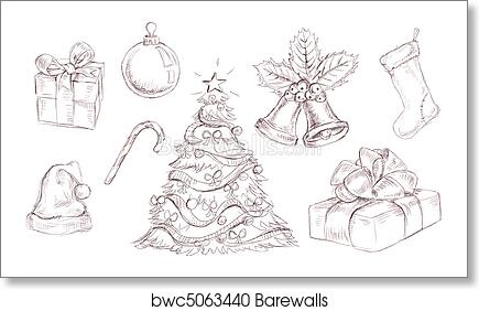 Christmas doodles, Art Print