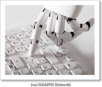 Robotic Hand Pressing Enter Key art print poster