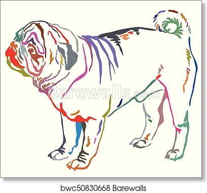 colorful decorative standing portrait of dog pug vector illustration art print barewalls posters prints bwc50830668 colorful decorative standing portrait of dog pug vector illustration