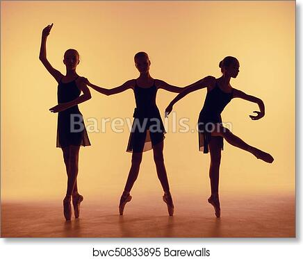 Composition From Silhouettes Of Three Young Dancers In Ballet Poses On A Orange Background Art Print Barewalls Posters Prints Bwc50833895