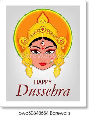 Art print of happy dussehra greeting card maa durga face for hindu art print of happy dussehra greeting card maa durga face for hindu festival m4hsunfo