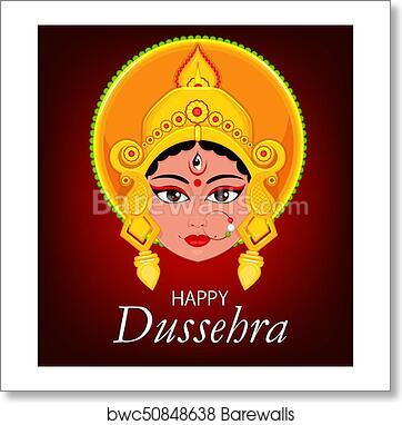 Art print of happy dussehra greeting card maa durga face for hindu art print of happy dussehra greeting card maa durga face for hindu festival m4hsunfo