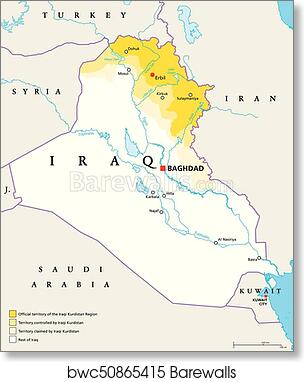Art Print of Iraqi Kurdistan Region political map Barewalls