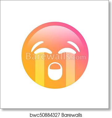 art print of gradient emoji sad face with crying tear icon