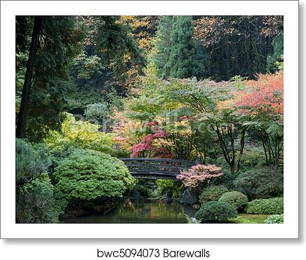 Art Print of Wooden bridge, Japanese Garden, Portland, Oregon ...