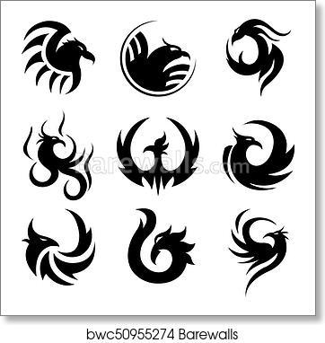 Art Print Of Black Tattoo Template Of Phoenix Isolated Illustrations