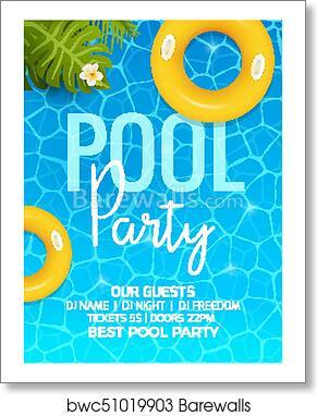 art print of pool summer party invitation template invitation pool