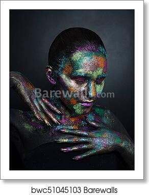 Young Artistic Woman In Black Paint And Colourful Powder Glowing Dark Makeup Creative Body Art On The Theme Of Space And Stars Bodypainting Project Art Beauty Fashion Art Print Barewalls Posters