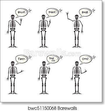 Skeleton hand gestures set: ok, finger up, finger down, fist, middle  finger, Rock n roll horns, clapping palms and other emoji  Human skeleton  posing
