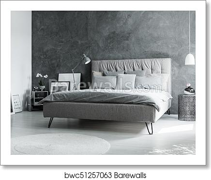 Monochromatic Bedroom With Mirror Art Print Barewalls Posters Prints Bwc51257063