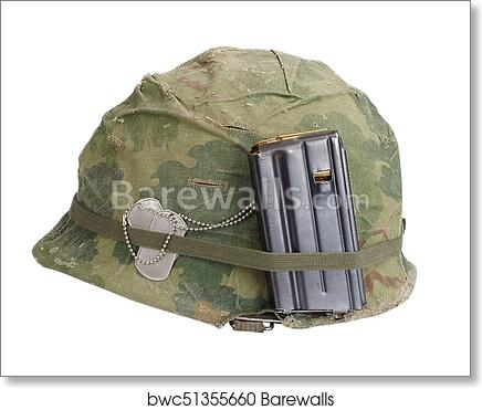Us Army Helmet Vietnam War Period With Camouflage Cover Magazine With Ammot And Dog Tags Art Print Barewalls Posters Prints Bwc51355660