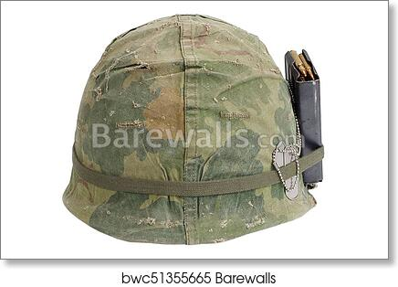 US Army helmet Vietnam war period with camouflage cover, magazine with  ammot and dog tags art print poster