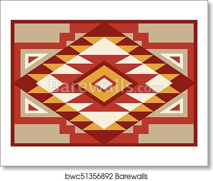 00131 Abstract Red And Beige Southwest Native Background 1 Eps Art Print Poster