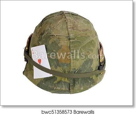 Us Army Helmet Vietnam War Period Art Print Barewalls Posters Prints Bwc51358573