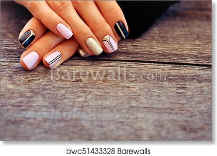 Art Print Of Natural Nails Gel Polish Perfect Clean Manicure With Zero Cuticle Nail Design For The Fashion Style